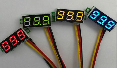 2pcs Mini DC 0-100V Red LED 3-Digital Display Voltage Voltmeter Panel Motor <ZS