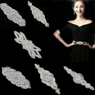 Crystal Rhinestone Applique Dress CostumeWedding Bridal Belt Sash Band DIY Decor