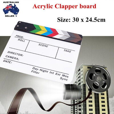 Acrylic Clapperboard Clapper Board Director TV Movie Film Action Slate Clap New