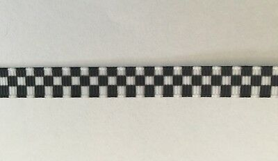 """Black and White Chequered Ribbon 9mm wide  3/8"""" 1m Long"""