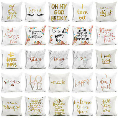 Gold Print Letter Polyester Pillow Case Sofa Car Waist Cushion Cover Home Decor
