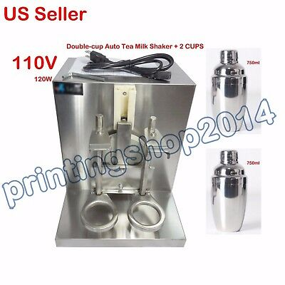 Double-cup Bubble Boba Milk Tea Shaker All Stainless Steel Auto Shaking Machine