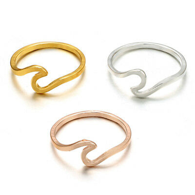 Surf Wave Ring Knuckle Finger Ring Simple Beach Sea Island Women Jewelry E&F