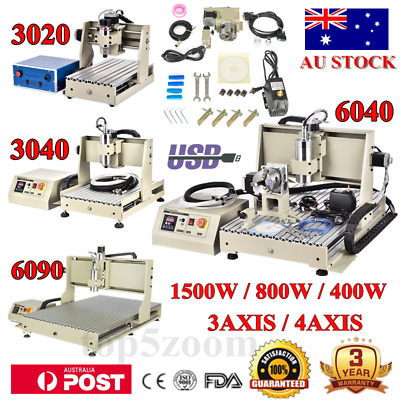 3/4AXIS CNC Router Engraver Laptop 3D Mill/Carving 3040/6040/6090 1500W/800W NEW