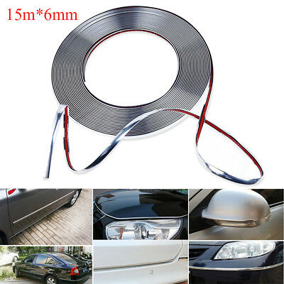 15m 6mm Liseret Bande Ruban Décorative Chrome Strip Adhésif Auto Voiture Tuning