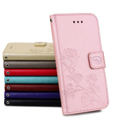 New Flip Leather Case Skin Elegant Rose Embossed Wallet Cover Stand For Huawei
