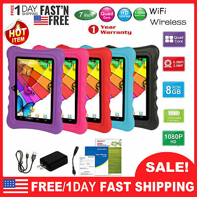 "7"" inch Android 8.1 Tablet PC For Kid Children Dual Cameras WiFi 8GB Bundle Case"