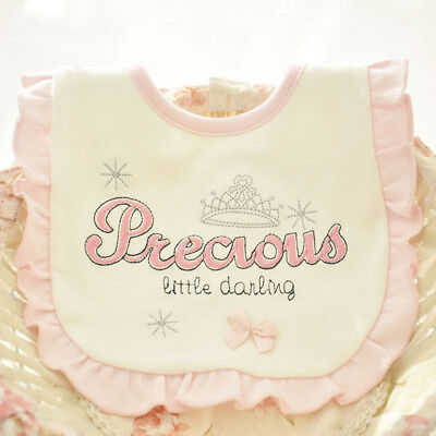 Stunning Baby Girls Romany Style Cotton Bib Precious Little Darling Embroidered