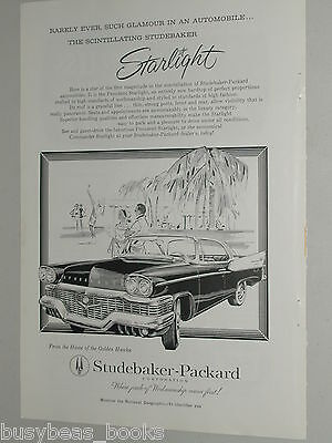 1958 STUDEBAKER advertisement, Studebaker President Starlight, B&W drawing