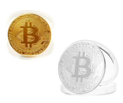 2pcs Set Bitcoin Gold & Silver Plated Commemorative Collector's Coin