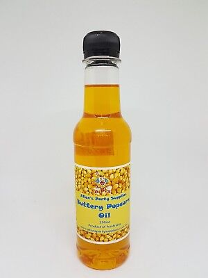 250ml BOTTLE BUTTERY POPCORN OIL, GREAT FOR HOME USE OR POPCORN MACHINES