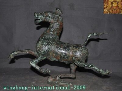 Rare antique Old Chinese pure Bronze Ware animal Horse Tread fly Swallow statue