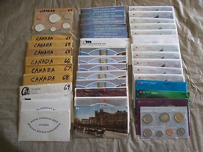Canada Uncirculated Mint Sets (39 Sets) 1962 - 2002 (Some Silver)