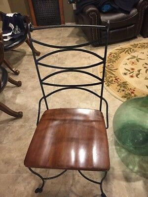 Wrought iron and solid wood dining chairs - set of 4 chairs