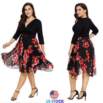 Plus Size Women Floral Print 3/4 Sleeve Wrap Dress Summer Beach Jumpsuit Romper