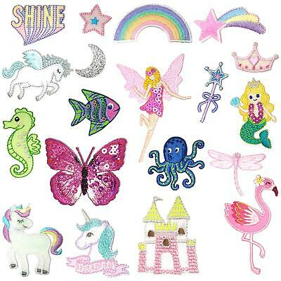 Fairy Mermaid Unicorn Design Embroidered Iron Sew Stitch On Patch Badge Clothes