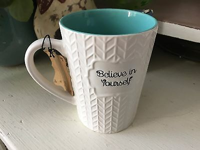 ROSCHER LARGE COFFEE Mug. NEW BELIEVE IN YOURSELF WHITE W BLUE ...