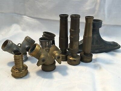 Lot 8 Old Brass Metal Yard Hose Lawn Garden House Connectors Sprayers Ends Flat