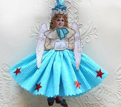 Vintage Style Christmas Ornament- Paper Doll Image ~Victorian Angel in Blue