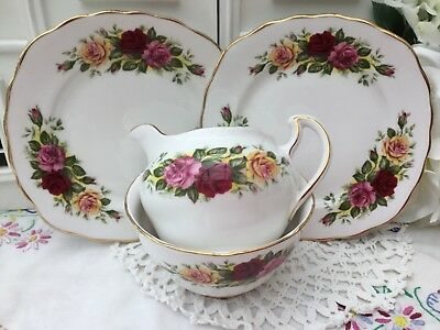 ROYAL VALE 1960s PART TEA SET 4PCE RED PINK YELLOW ROSES 8281 GILDED BONE CHINA