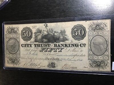1840 $50 City Trust Banking Company New York  High Grade Obsolete Note