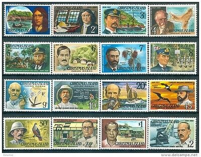 Christmas Island 1977 Famous Visitors set of 16 MNH