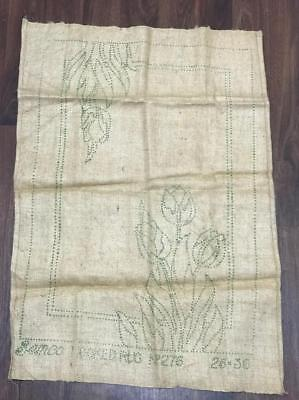 ** VINTAGE  HOOK RUG SEMCO No 276 TULIP DESIGN on BURLAP / HESSIAN 26 x 36 inch