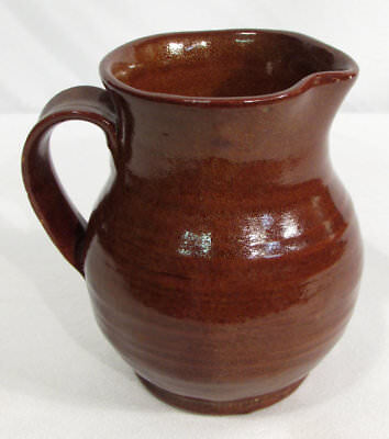 Old Sturbridge Village OSV Hand Crafted Redware Pitcher 3.5 Inches  NICE