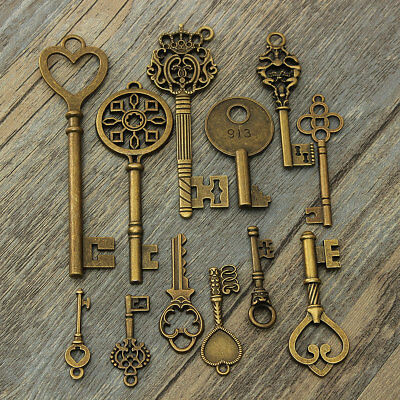 12Pcs Assorted Antique Vintage Large Royal Bronze Pendants Key Collectibles DIY