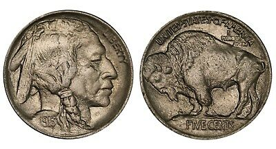 1913 US 5 Cents Buffalo Nickel Type I  Raised Ground AU/UNC Coin KM# 133