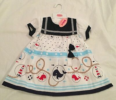 NEW With Tags Baby Girls nautical Sailor Dress Navy Blue White 6-12m, 18-24m