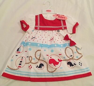 NEW With Tags Baby Girls nautical Sailor Dress Red White 6-12m, 18-24m