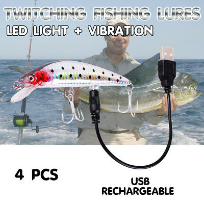4X USB Rechargeable Twitching Fishing Lures Bait Tournament Buzzing Bait Recycle
