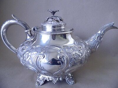 Stunning Large Victorian Sterling Silver Flowers & Scrolls Teapot 1846