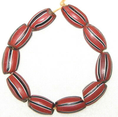 10 Old Antique Venetian drawn brick Red wound oval Glass African Trade Beads