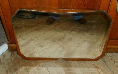 Art Deco Geometric Angular Mirror Walnut Veneer stunning rare  26 inch