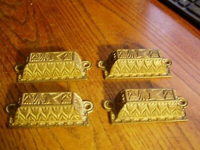 Cast Iron Brass plated  Drawer Pull SET OF4  Handle  Furniture Hardware