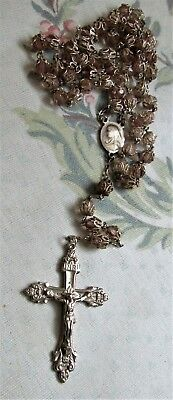 vintage Sterling DOUBLE CAPPED Cut PINK CRYSTAL Rosary lourdes miraculus MEDAL