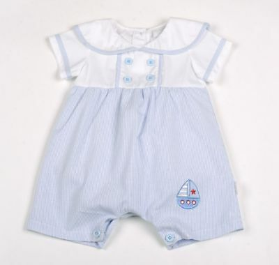 Baby Boy Spanish Style romper all in one  Blue white Aardvark cotton 0-9 months