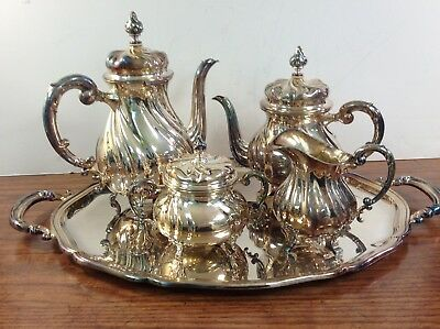 STERLING SILVER RICH ANTIQUE ITALIAN GRECA STYLE COFFEE TEA SET 5 PC 107.28 ozt