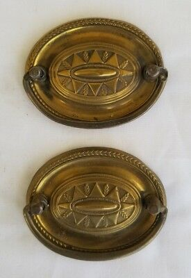Pair Ornate Brass & Iron Bail / Plate Drawer Pulls Reclaimed Hardware Furniture