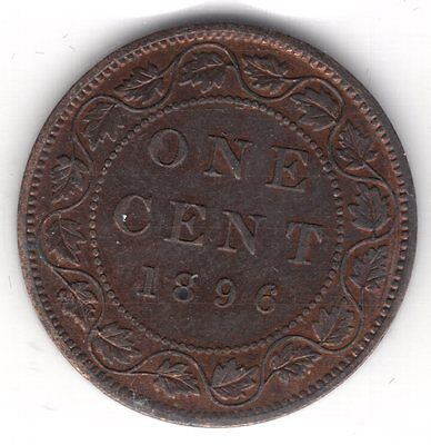 1896 Canada One 1 Cent Copper Penny ICCS Mint State Graded Large Coin F351