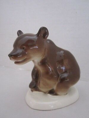 Vintage Soviet Russian Lomonosov Porcelain Brown Bear Figure Figurine