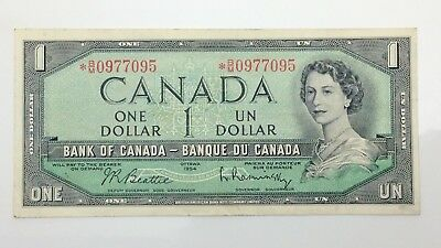1954 Canada One 1 Dollar Prefix *BM Replacement Circulated Banknote F361