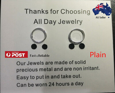 S999 Pure Silver Sleepers, Piercing All Day Earrings plain and twisted 20g 8mm