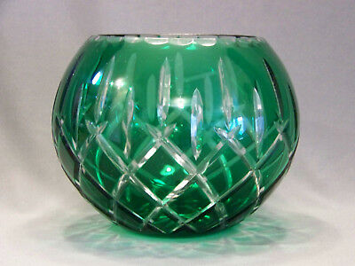 Crystal rose bowl emerald green to clear glass lady anne Gorham