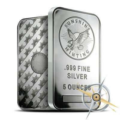 5 oz Silver Bar Sunshine Minting .999 Fine - New, Sealed, Mintmark SI