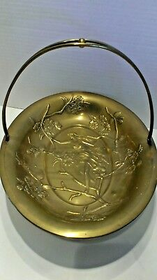 Antique ART  NOUVEAU brass basket or bowl  MAIDEN IN CHERRY BLOSSOM BRANCHES