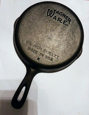 """Vintage Wagner Ware  Cast Iron Skillet 6-1/2""""  """"K"""" MADE IN THE USA"""