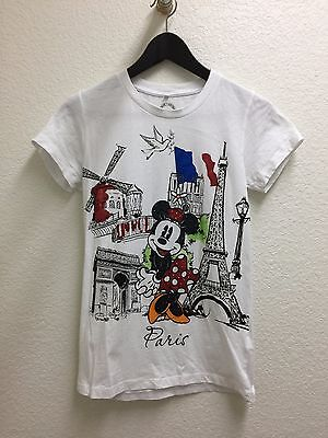 Disney White Minnie Mouse in Paris Rhinestone Graphic T-Shirt Size UK 12